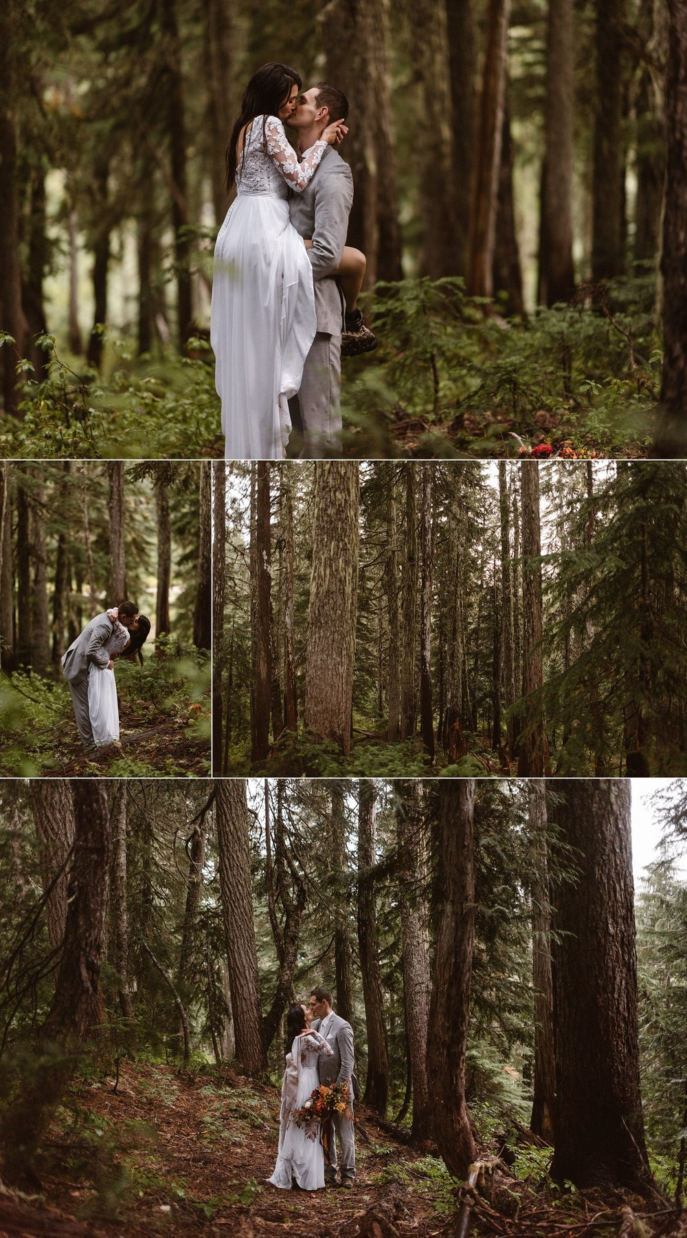 The mist rolled in and out, their wedding clothes showing signs of their adventurous elopement hike. This stunning couple went all out for romance and eloped in Mount Rainier National Park with only their closest friends and their intimate elopement photographer Maddie Mae.