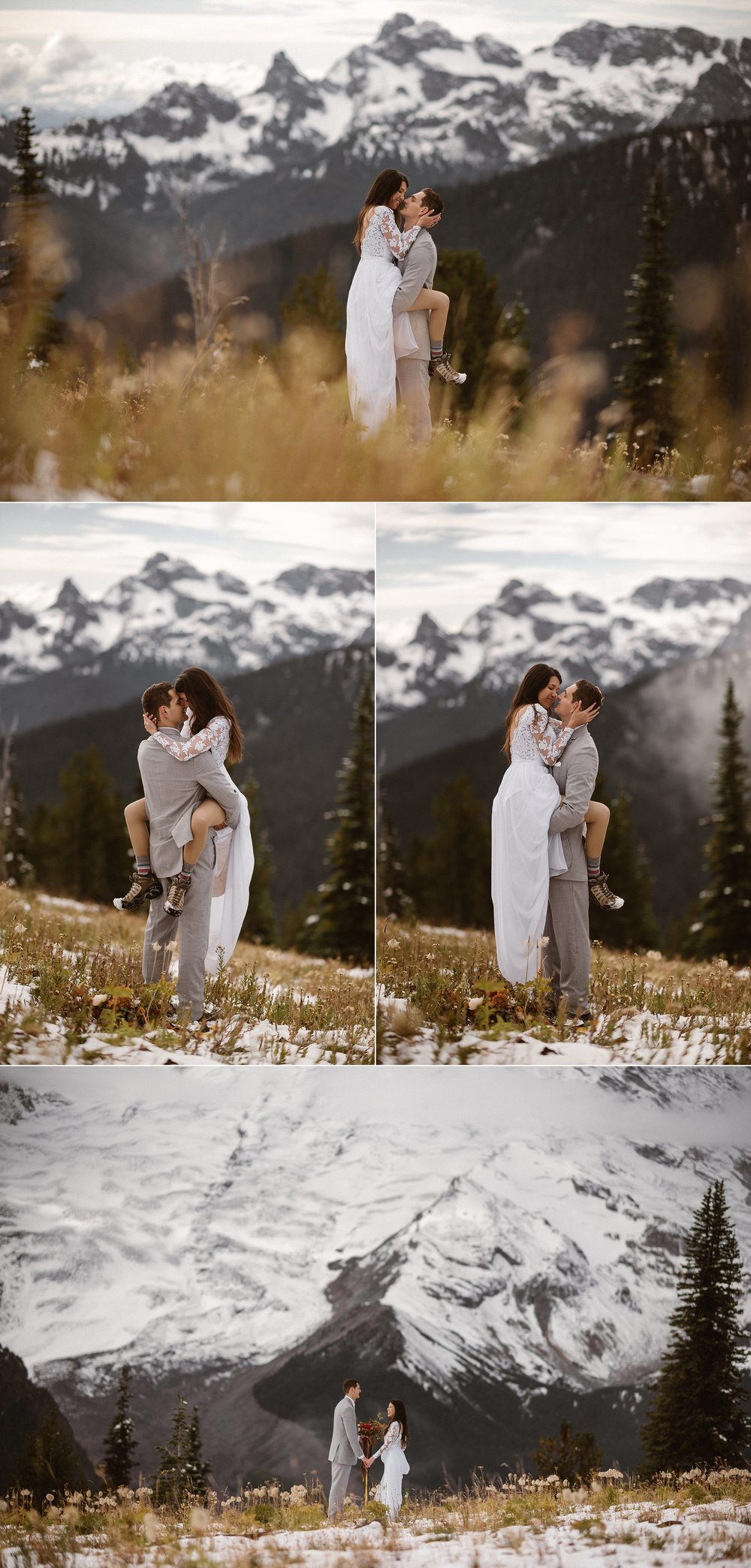 With no one around other than their traveling elopement photographer Maddie Mae, Resa jumped affectionately into Grant's arms, kicking up the snow with her hiking boots and reminding them of how much fun they have together on an adventure. They began their marriage with a hike through Mount Rainier National Park to a perfect spot in the forest for their intimate ceremony followed by a hike in the snow.