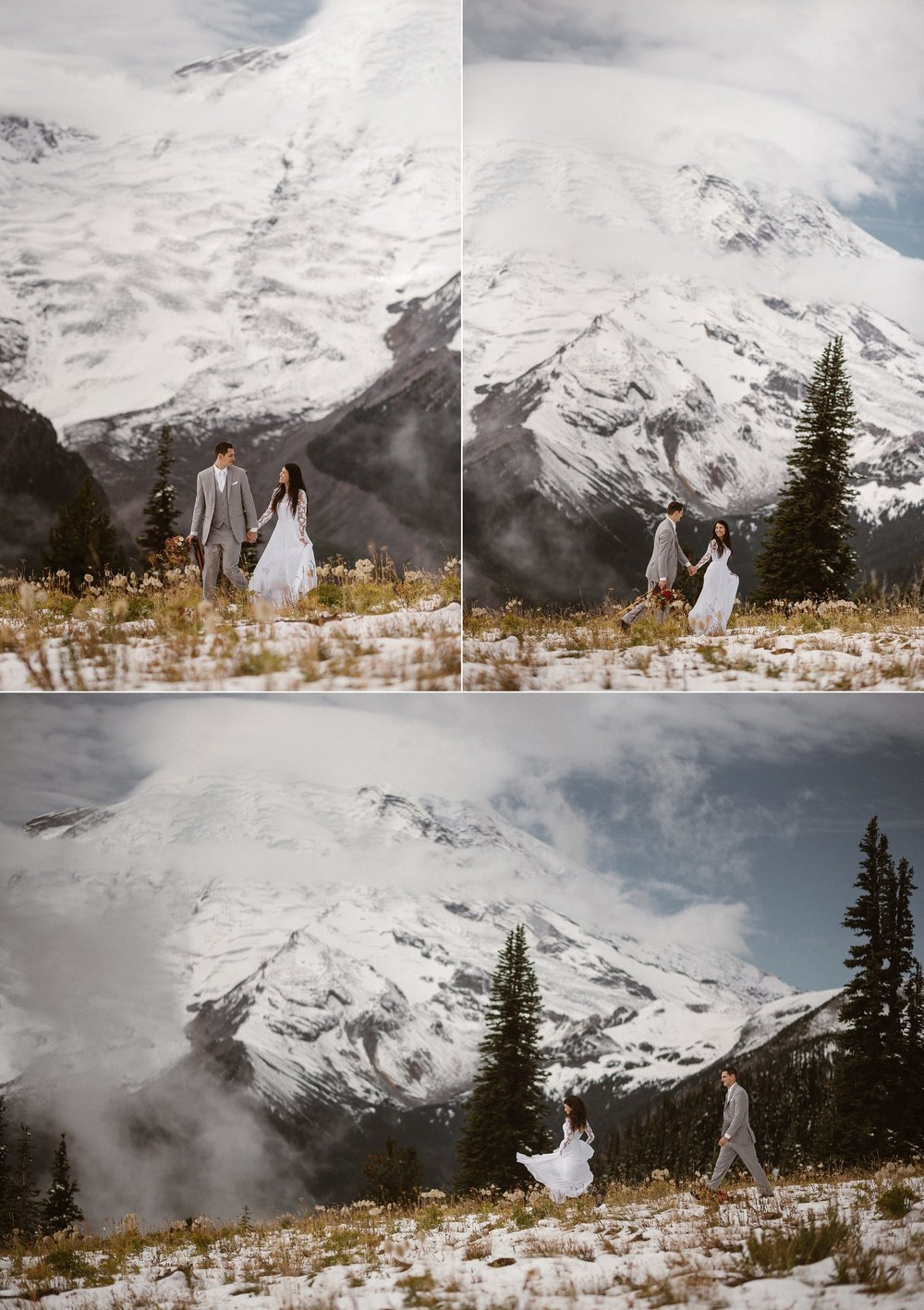 Spinning and twirling in her flowing white wedding dress Resa lead on their hike back towards the car and ending their adventurous elopement day through Mount Rainier National Park with their intimate traveling elopement photographer Maddie Mae.