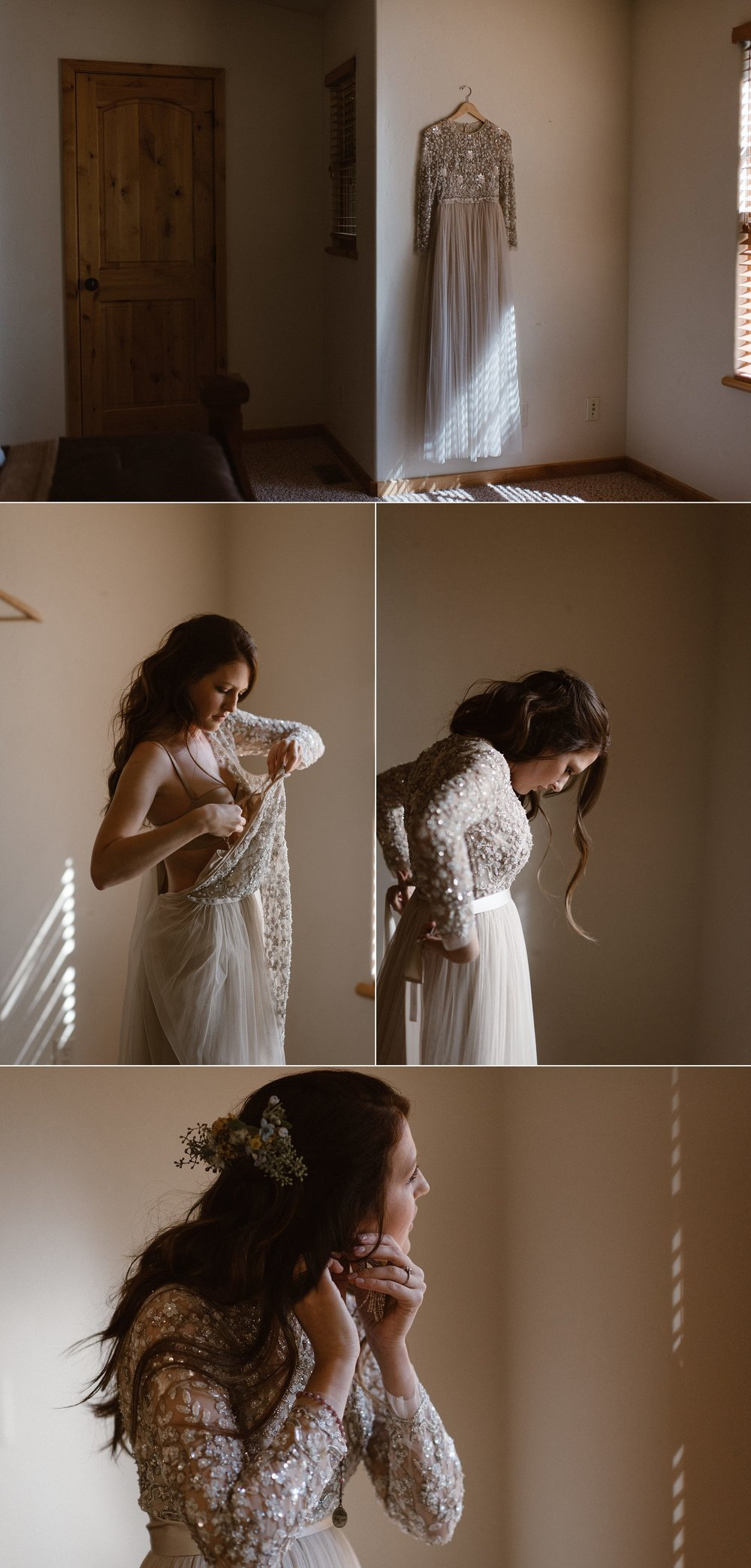 Although they through the traditional wedding to the wind, Jen kept a few details in tact. She go ready with the morning light peeking into the blinds, making the sparkles on her jeweled wedding dress light up the room. Photos of this epically romantic elopement in Ouray, Colorado's Yankee Boy Basin by intimate wedding photographer Maddie Mae.