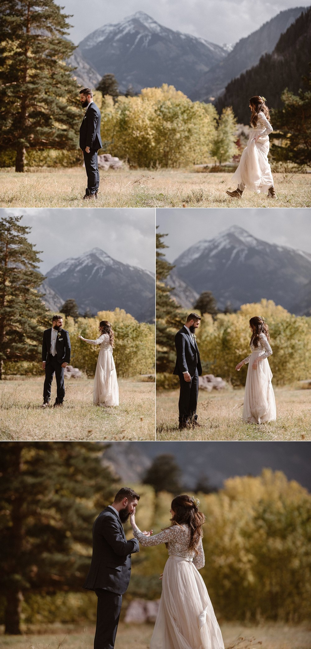 With the afternoon sun at their backs, Jen made her way to her patient groom, ready to finally see him for the first time on their wedding day. This adventurous couple opted for an all day hike through Yankee Boy Basin with their intimate elopement photographer Maddie Mae so they could share their vows in private among the mountains.