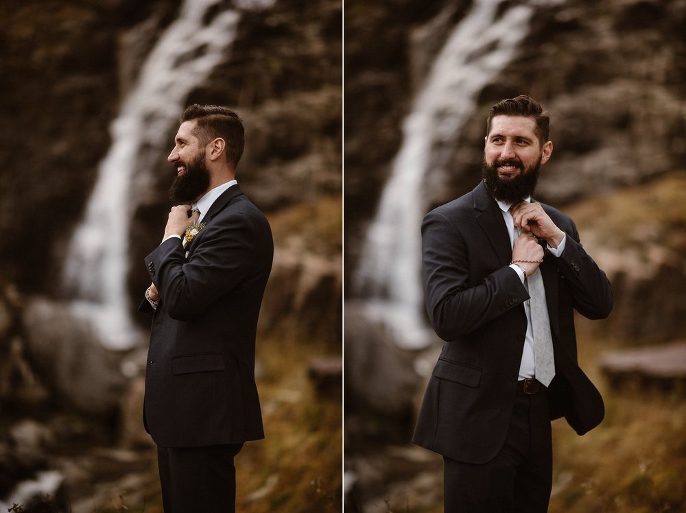 Smiling and fixing his tie, Dan looked on at his stunning bride - the sound of a rushing waterfall behind him, and he knew they had made the best decision to elope in Ouray, Colorado with their intimate elopement photographer Maddie Mae there to capture each emotional moment.