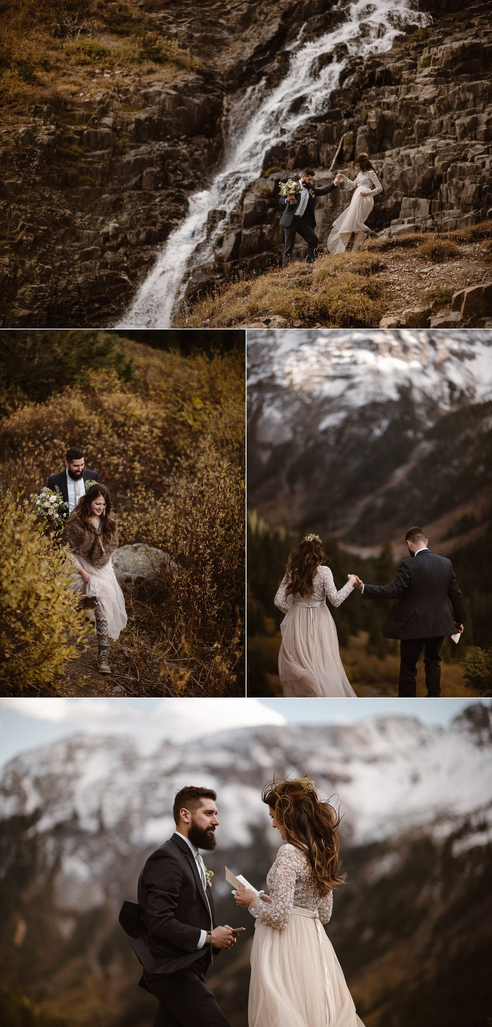 Carefully helping Jen navigate the rocky trail in her wedding dress, Dan offered his hand as they made their way to the perfect spot for their elopement ceremony. Overlooking Ouray, Colorado and high in the San Juan Mountains they privately began their intimate ceremony. Photos of this emotional hiking elopement by traveling wedding photographer Maddie Mae.