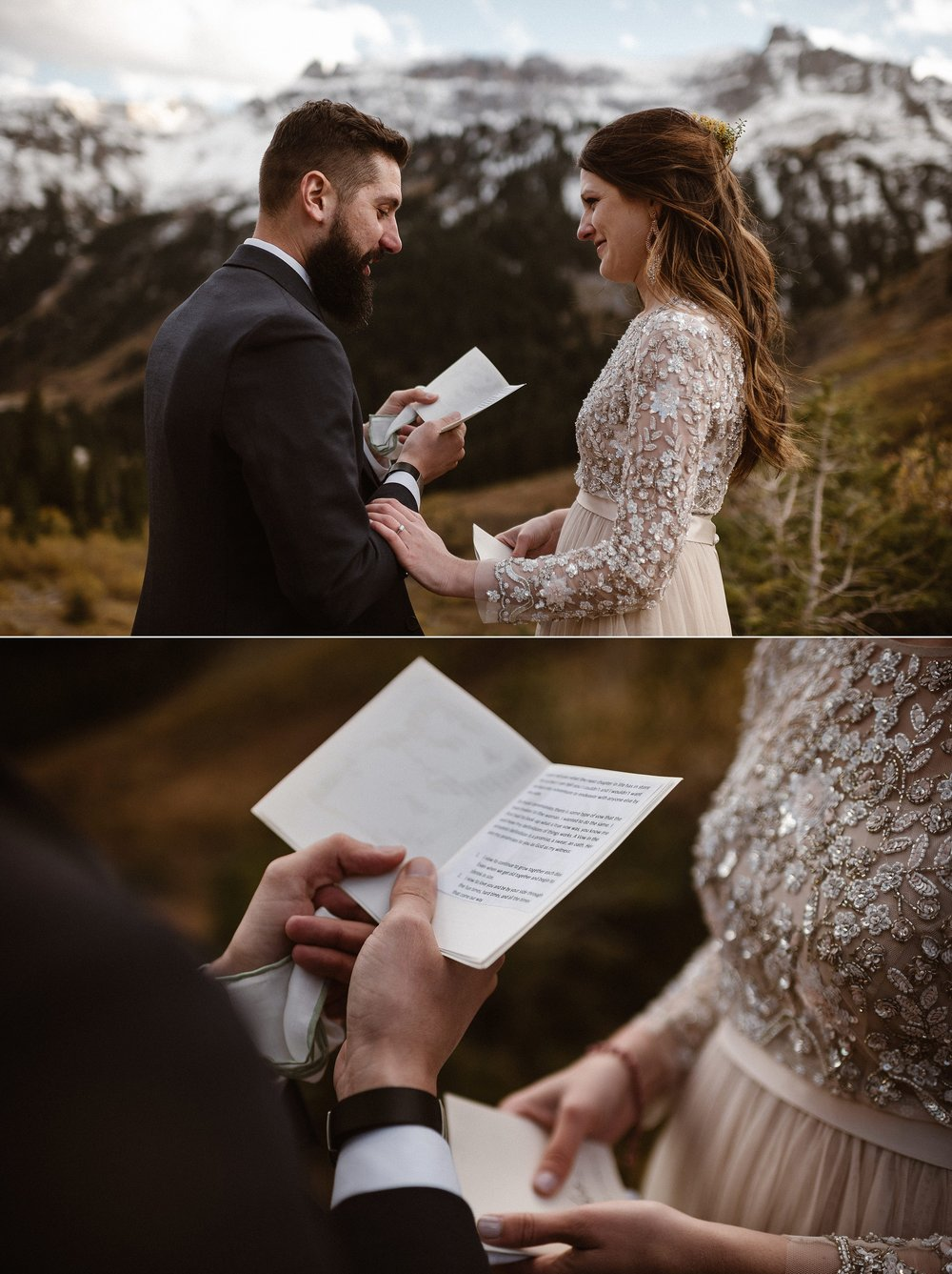 Ending with a fond and funny memory, they giggled as their private elopement ceremony came to an end. The high alpine winds of the San Juan Mountains whipping around Yankee Boy Basin where Jen and Dan picked for their biggest adventure yet. Photos of this romantic elopement in Ouray, Colorado by traveling elopement photographer Maddie Mae.