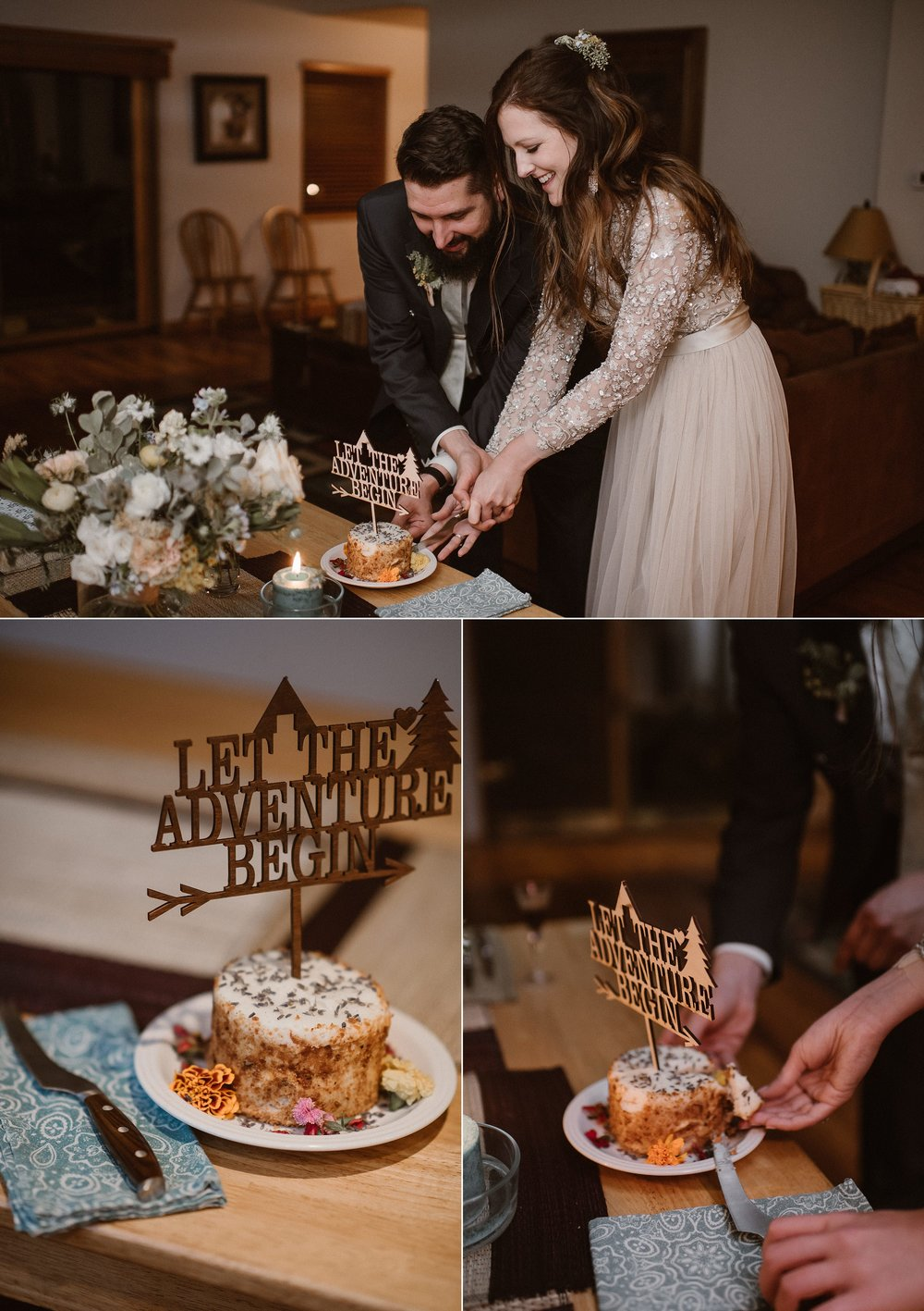No wedding celebration, no matter how big or small, is really complete without a piece of cake. Jen and Dan's was topped with a custom wooden topper with their adventurous theme. Photos of this delicious private elopement dinner in Ouray, Colorado was captured by intimate wedding photographer Maddie Mae.