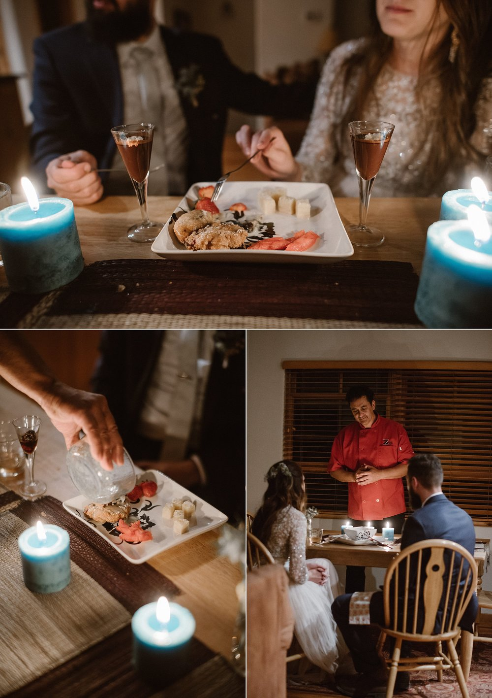 With their meal soon coming to an end, the best was saved for last - dessert! They sat in awe watching the chefs dance around the cabin kitchen creating a specialized menu just for them to celebrate their epic and adventurous elopement through the San Juan Mountains with their intimate wedding photographer Maddie Mae.