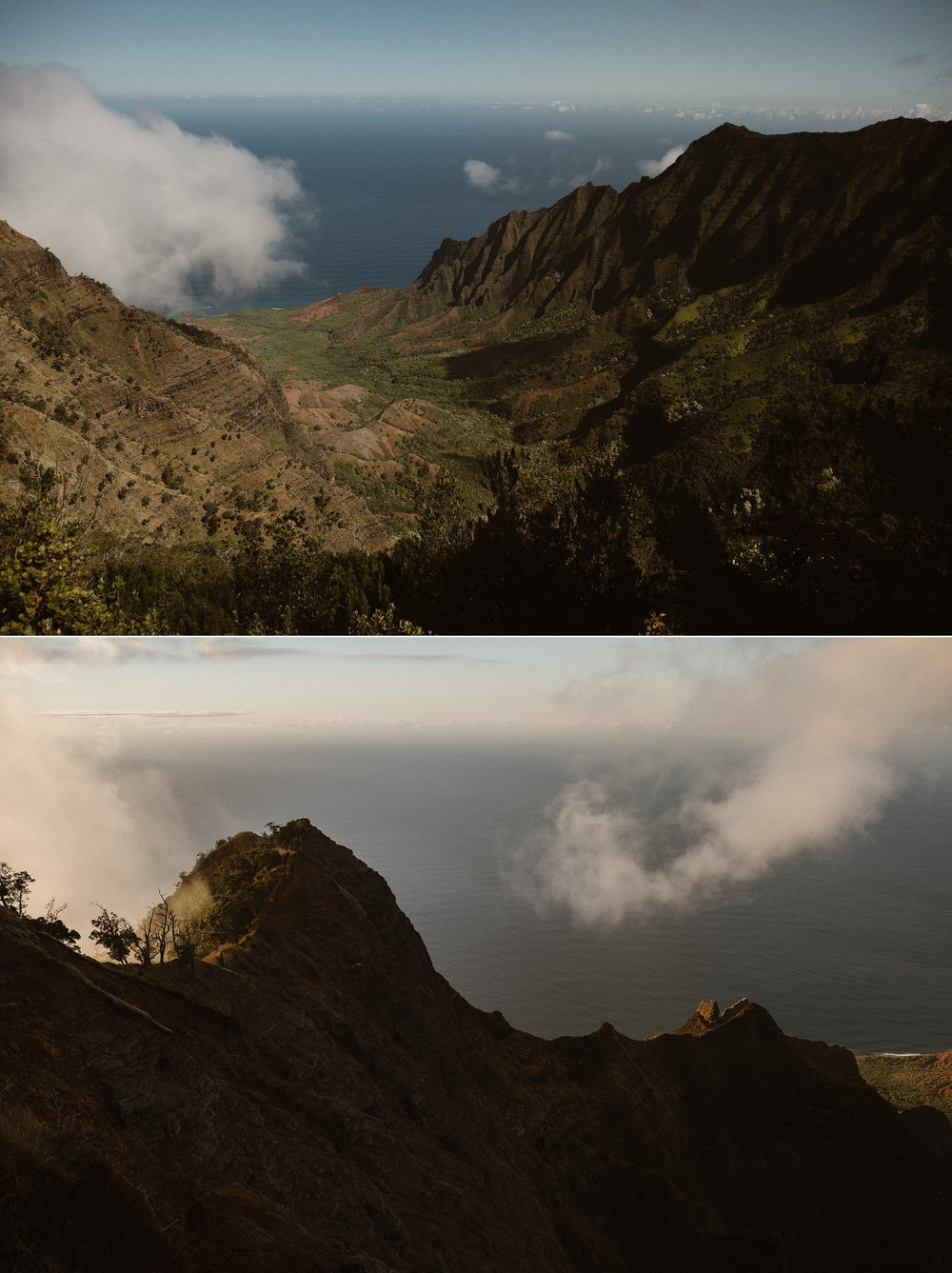 High on the hilltops above the shorelines of Kauai where most people think of when they envision Hawaii, Kourtney and Chris said their vows privately at an intimate elopement ceremony with their traveling wedding photographer, Maddie Mae.