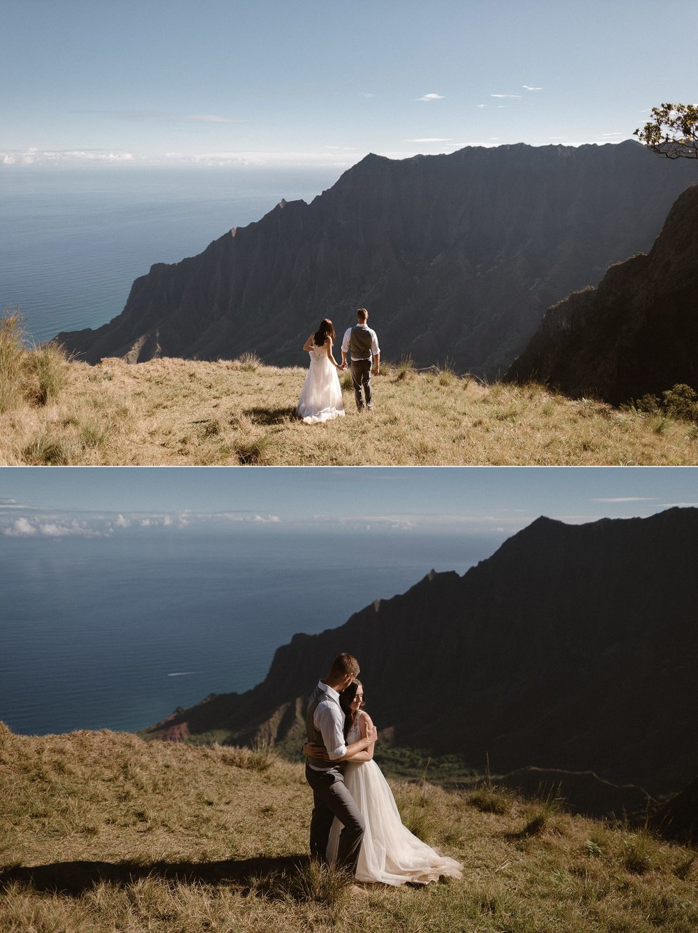 Basking in the warm Hawaiian sun and realizing that they had just begun the adventure of a lifetime with the most epic hike through Kauai's  Kokee State Park for their intimate elopement. They chose to say their vows privately high above the touristy beaches with only their traveling wedding photographer Maddie Mae as their witness.