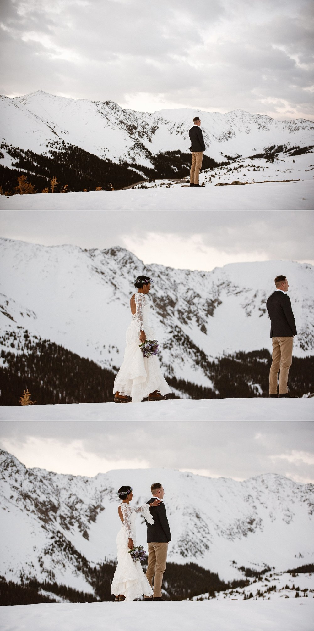 Jared waited patiently for his stunning winter bride to arrive. Their intimate Loveland Pass elopement photographed by traveling wedding photographer Maddie Mae.