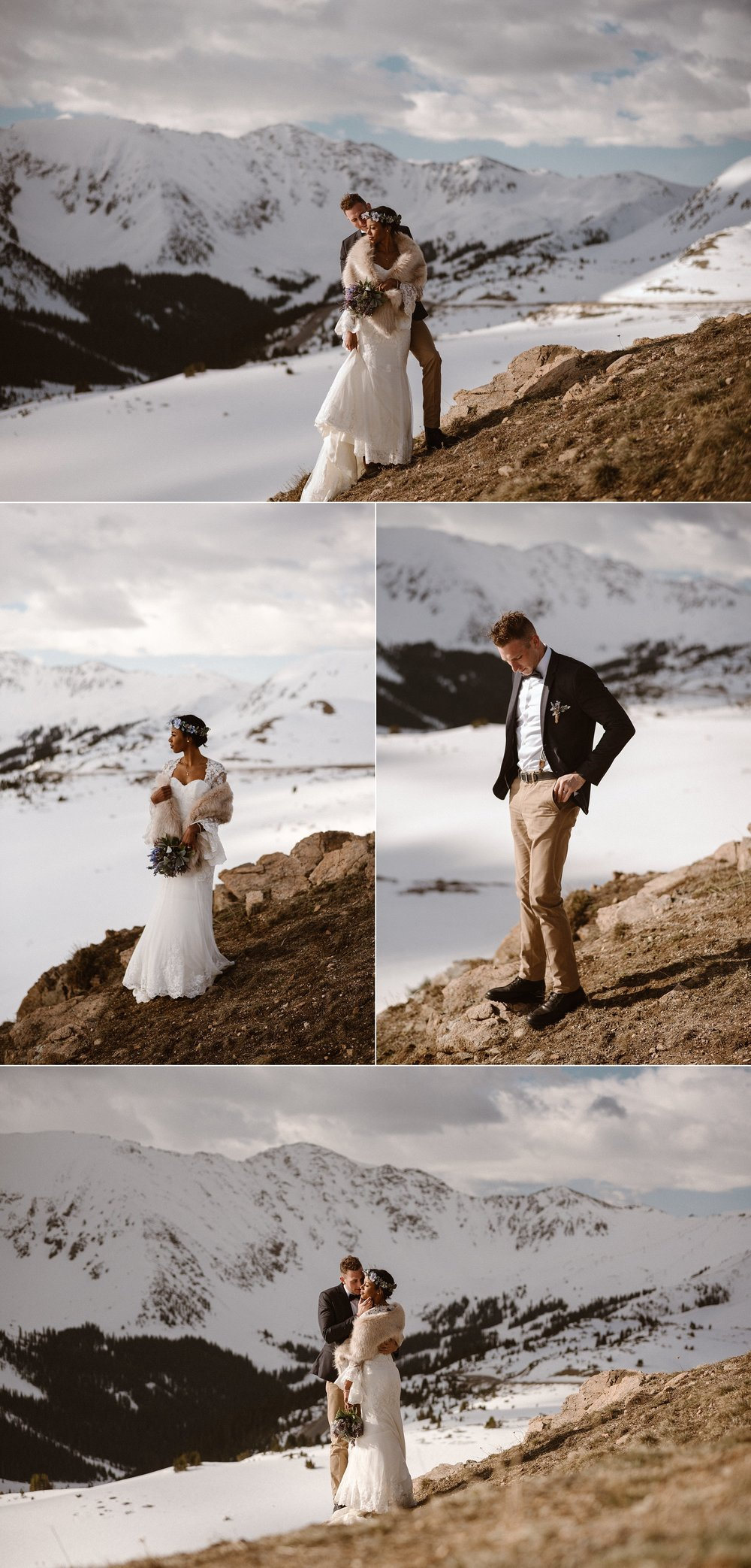 Stopping with the snowy Rocky Mountains behind them Jared and Mikayla shared a playful moment among the spring snow of Loveland Pass. Their intimate elopement captured by wedding photographer Maddie Mae.