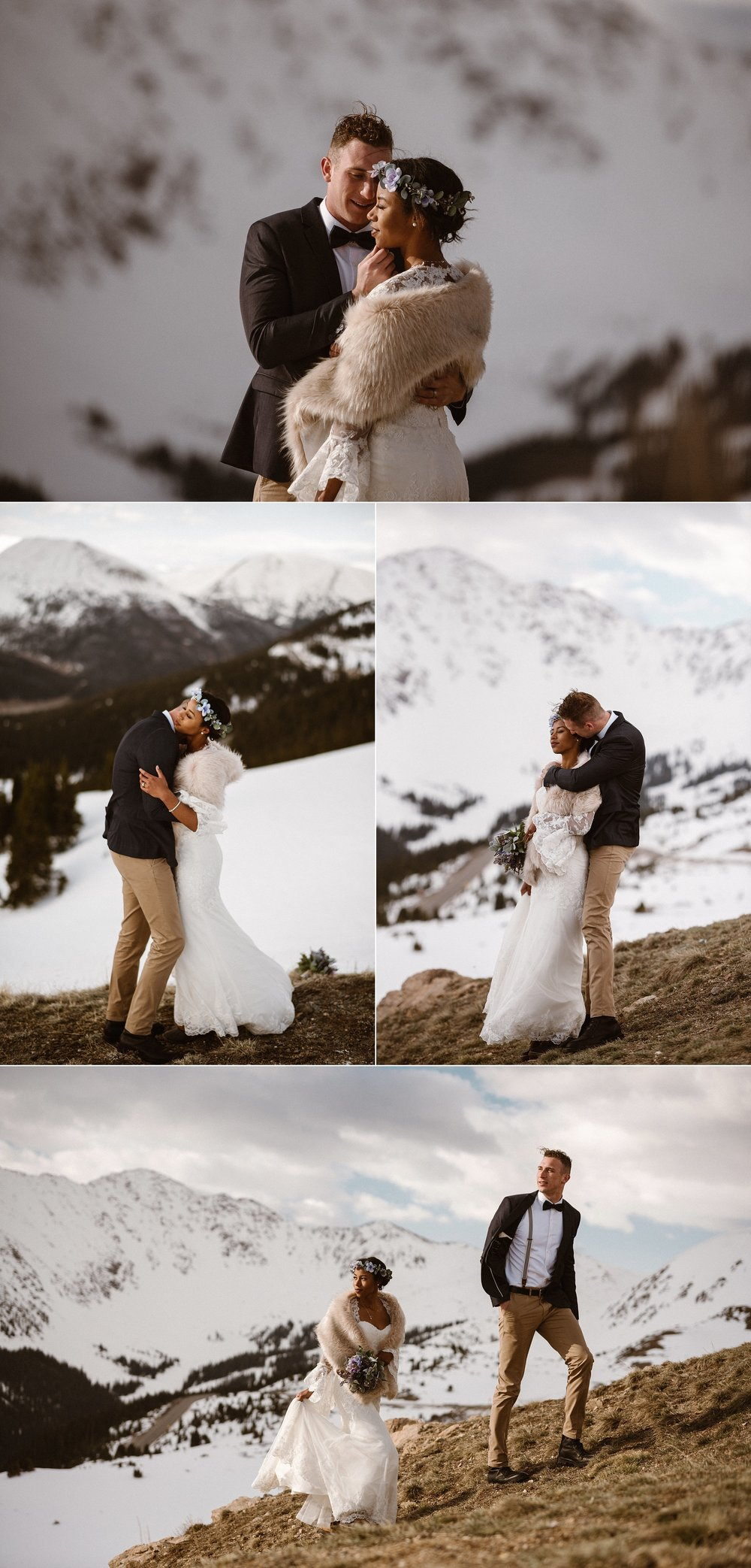 Like and old romantic movie, Jared grabbed Mikayla's hand, kissing it softly. Their vintage style a perfect contrast for the icy landscape of Loveland Pass where they celebrated their intimate elopement, captured by Colorado native Maddie Mae Photography.