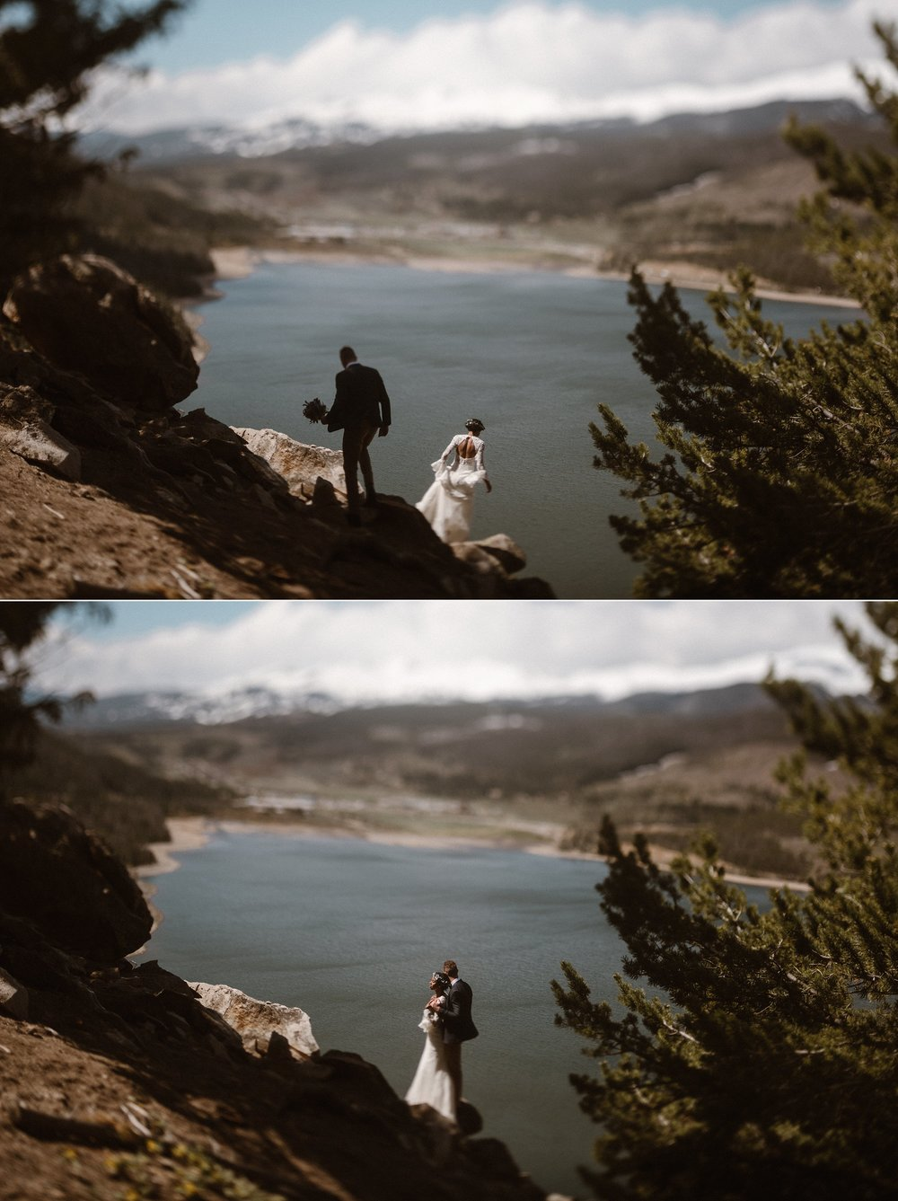 Pausing high above Dillon reservoir with the sun at their faces, Jared whispered promises made only for Mikayla to hear at their intimate mountain elopement. Photos of this vintage inspired couple by Colorado native, Maddie Mae Photography.