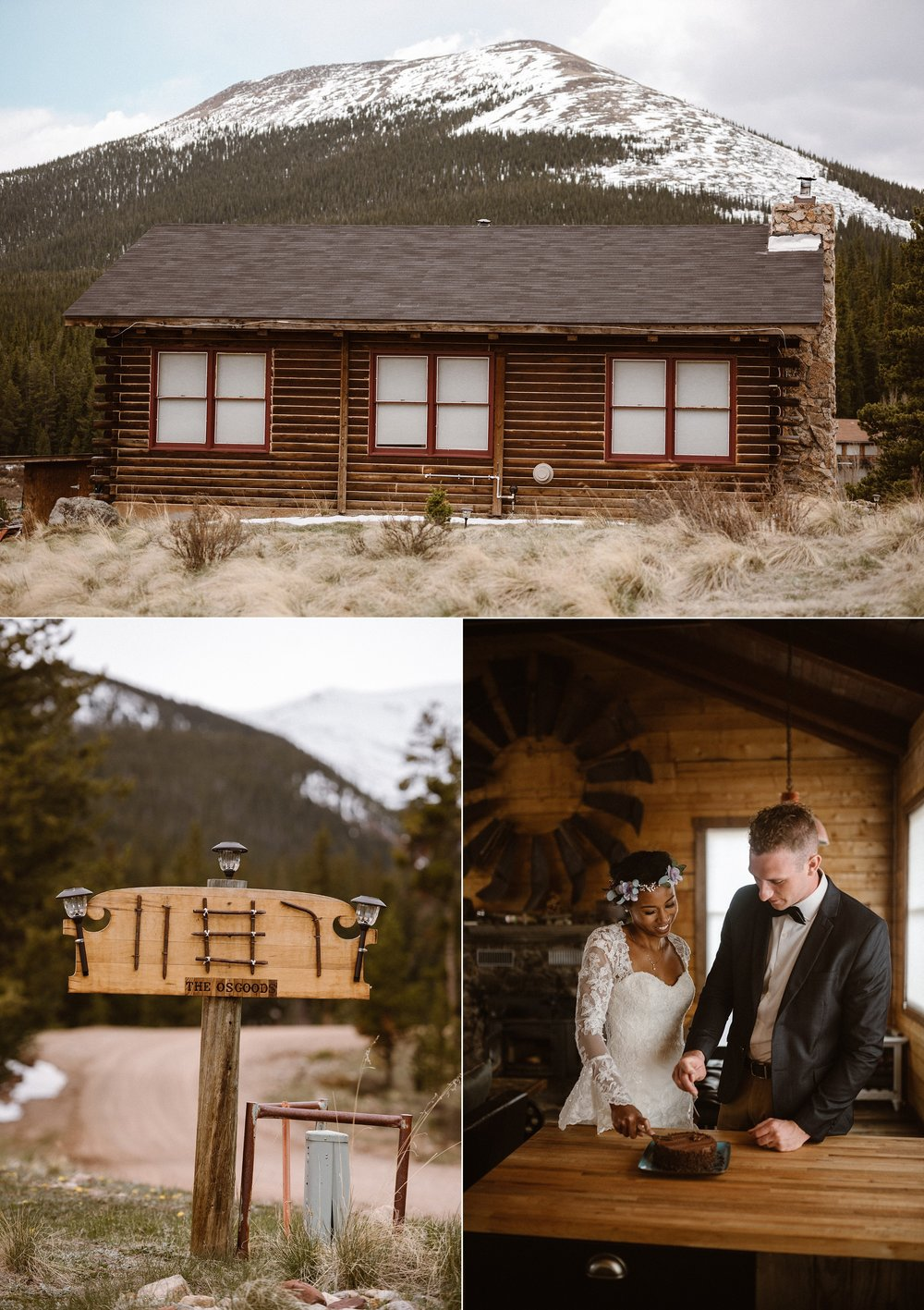 Coming down the mountain, they made their way back home - a little wood and stone cabin just south of Breckenridge Colorado. This intimate elopement captured by Colorado native Maddie Mae.