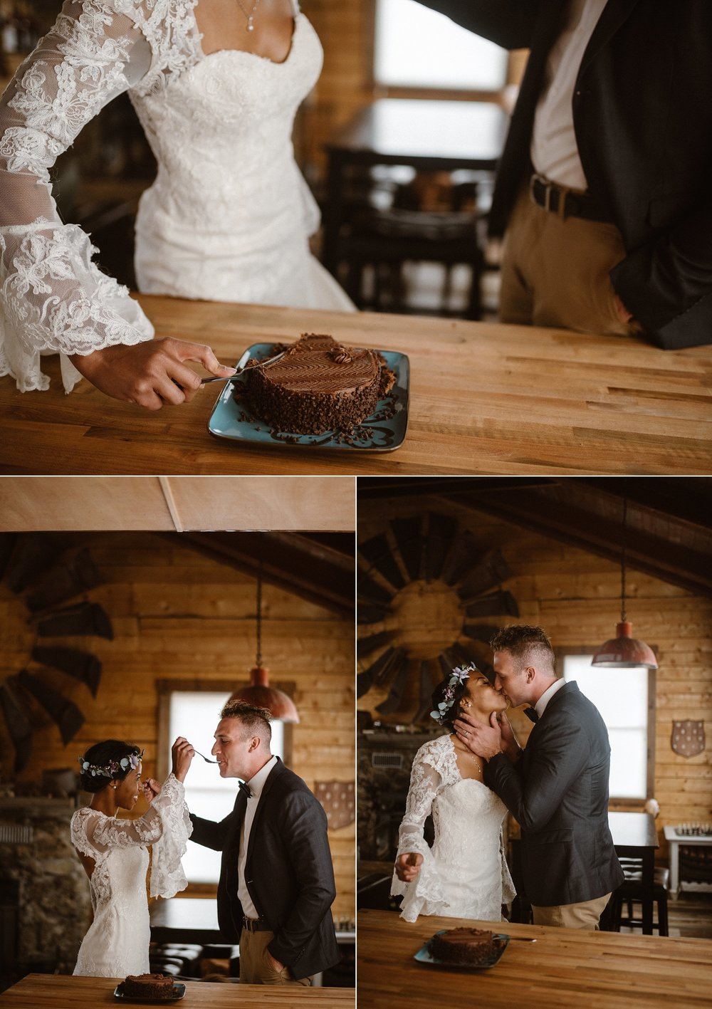 Home is where the heart, and the cake is! Although they threw out many of the norms of a traditional wedding, they did pick their favorite dark chocolate cake to celebrate their snowy intimate elopement through the Colorado mountains. Photos by wedding photographer Maddie Mae.