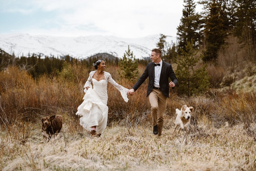 Grabbing each other's hand, Mikayla and Jared ran off into the tall grass with their two dogs. Their adventures only starting with their non-traditional hiking elopement through the Colorado mountains with their intimate wedding photographer Maddie Mae.
