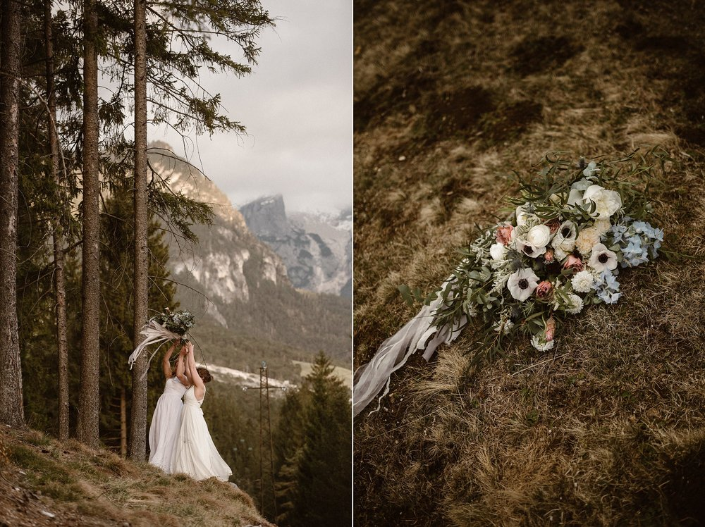 After their intimate elopement ceremony, they wandered through the tall pines of Lake Braise, almost loosing their oversized bouquet by Il Profumo dei fiori flower design to the wind. Photos by wedding photographer Maddie Mae.