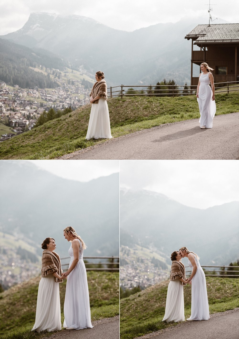 Patiently waiting for her bride and taking in the grand view of South Tryol in Northern Italy had to offer, she found her nerves calm when she would have been so anxious on her on her wedding day. Photo by Maddie Mae Photography.