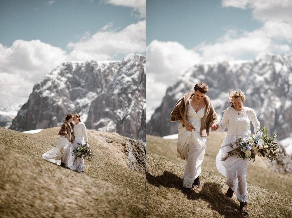 Hiking their way down the Italian Dolomites'Gardena Pass and on to their next location for their intimate and non-traditional elopement through Northern Italy with wedding photographer Maddie Mae by their sides to capture every sweet moment.
