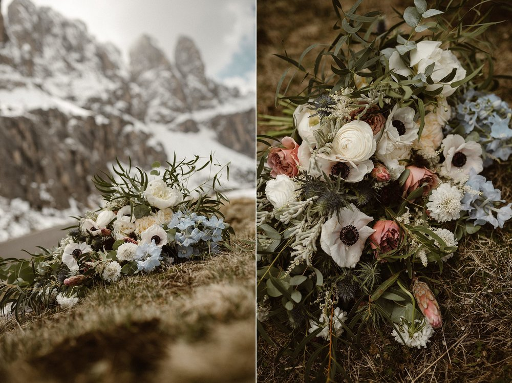 The simplicity of this intimate elopement, punctuated with the incredible oversized spring flower bouquet made with care by Il Profumo dei fiori flower design. It held up through their adventurous hiking elopement through the Italian Dolomites. Photos by Maddie Mae Photography.