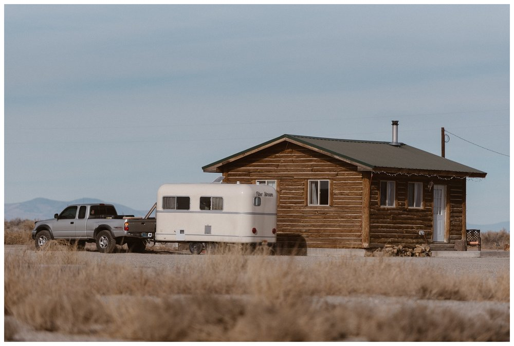 A cabin outside Great Sand Dunes National Park where Olivia and Justin got ready for their winter adventure elopement.