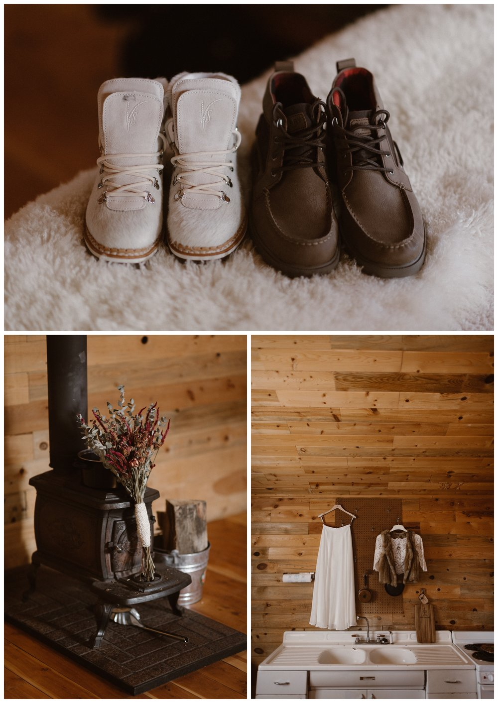 A hand picked and dried floral bouquet, fur vest, and new white hiking boots were some of the details for Olivia and Justin's winter wedding. Photo by Maddie Mae Photo, Adventures Instead.