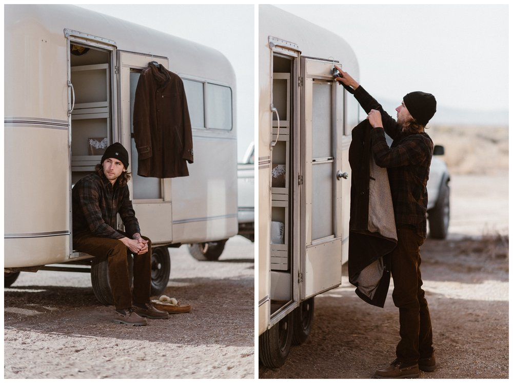 Justin getting ready for his winter adventure elopement outside Alamosa, Colorado at the Great Sand Dunes National Park. Photo by Maddie Mae Photo, Adventures Instead.