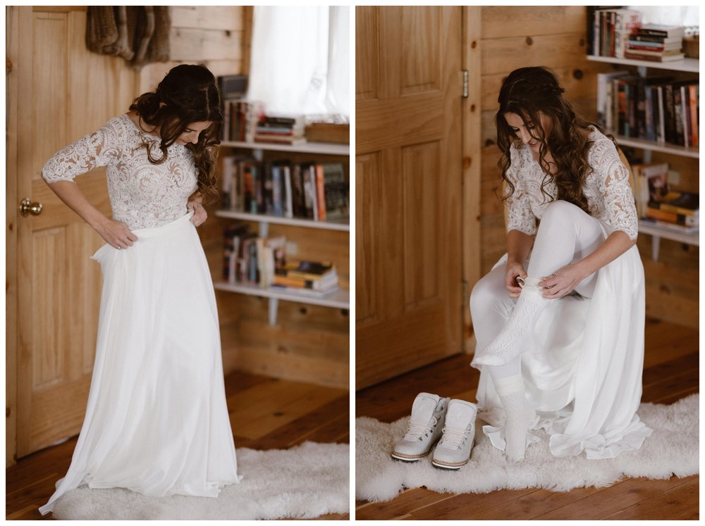 Extra layers of clothing, including white leggings and extra warm white socks were important for Olivia's bridal outfit during her outdoor winter elopement. Photo by Maddie Mae Photo, Adventures Instead.