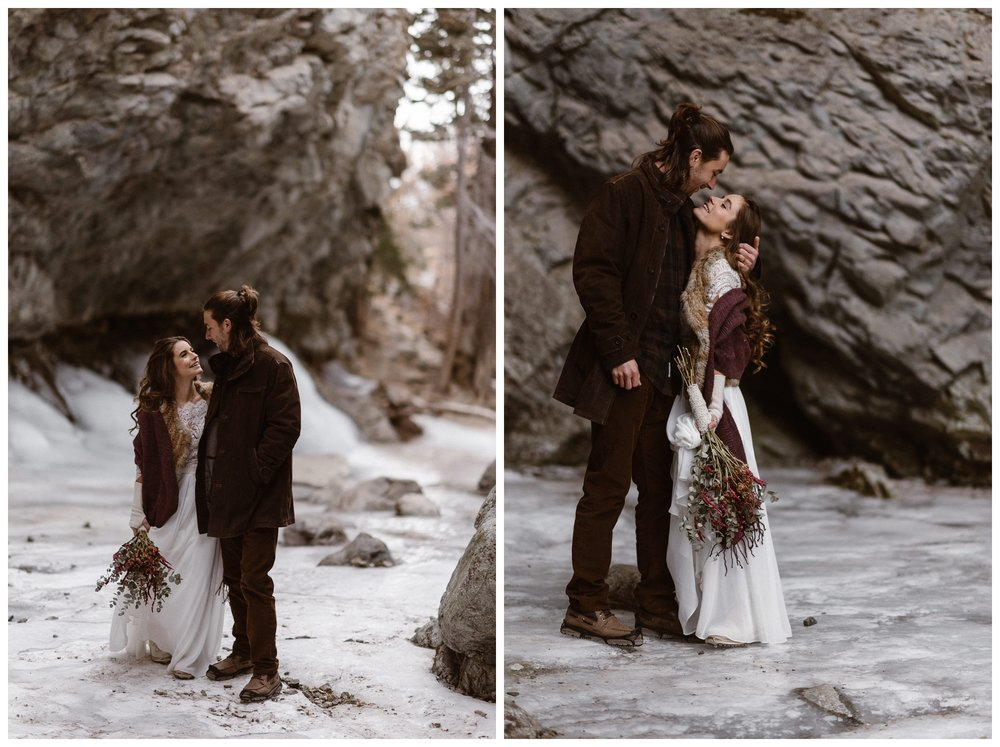 Hiking through frozen Zapata Falls on ice, Olivia kept warm on her wedding day with a fur vest and maroon blanket. Photo by Maddie Mae Photo, Adventures Instead.