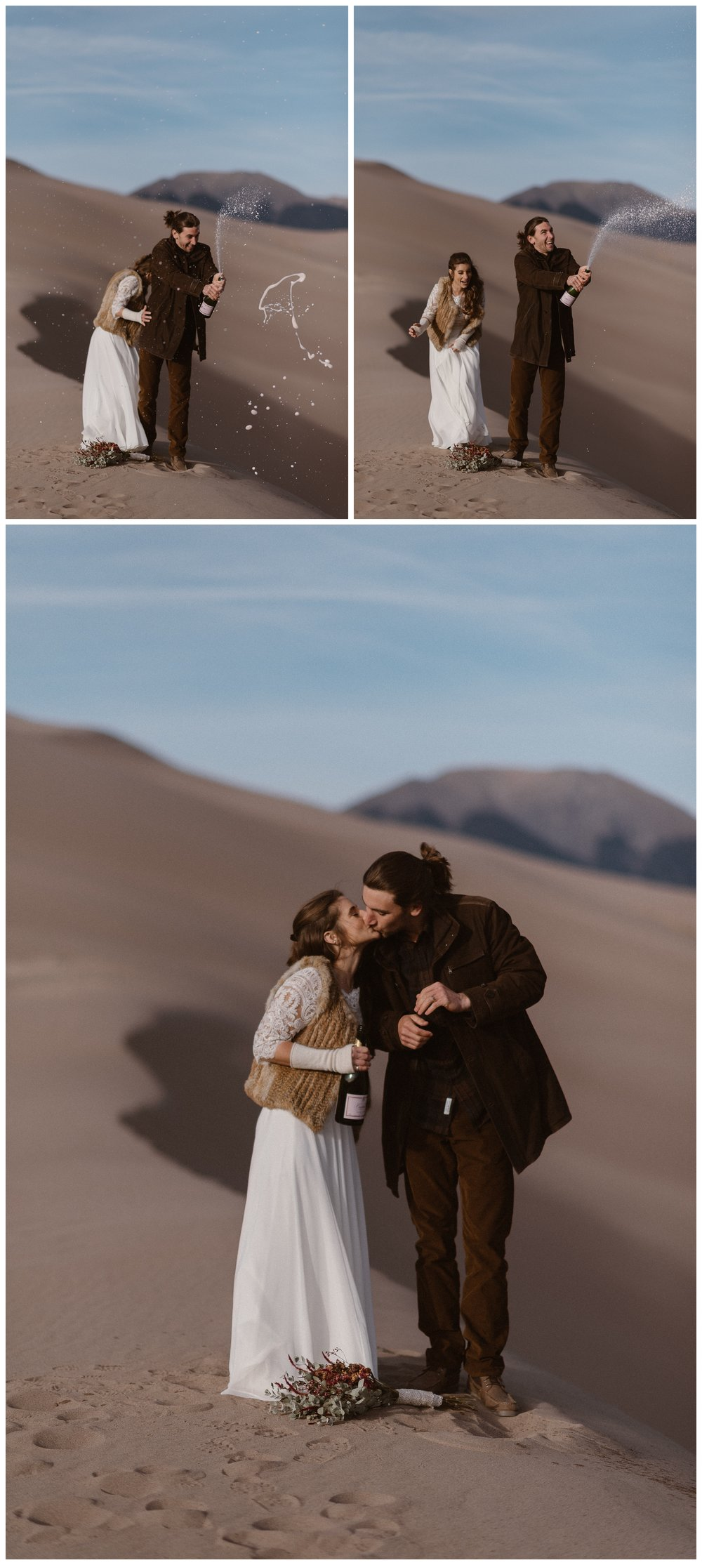 Olivia and Justin celebrate their recent vows on top of Great Sand Dunes National Park by popping a bottle of champagne. Photo by Maddie Mae Photo, Adventures Instead.