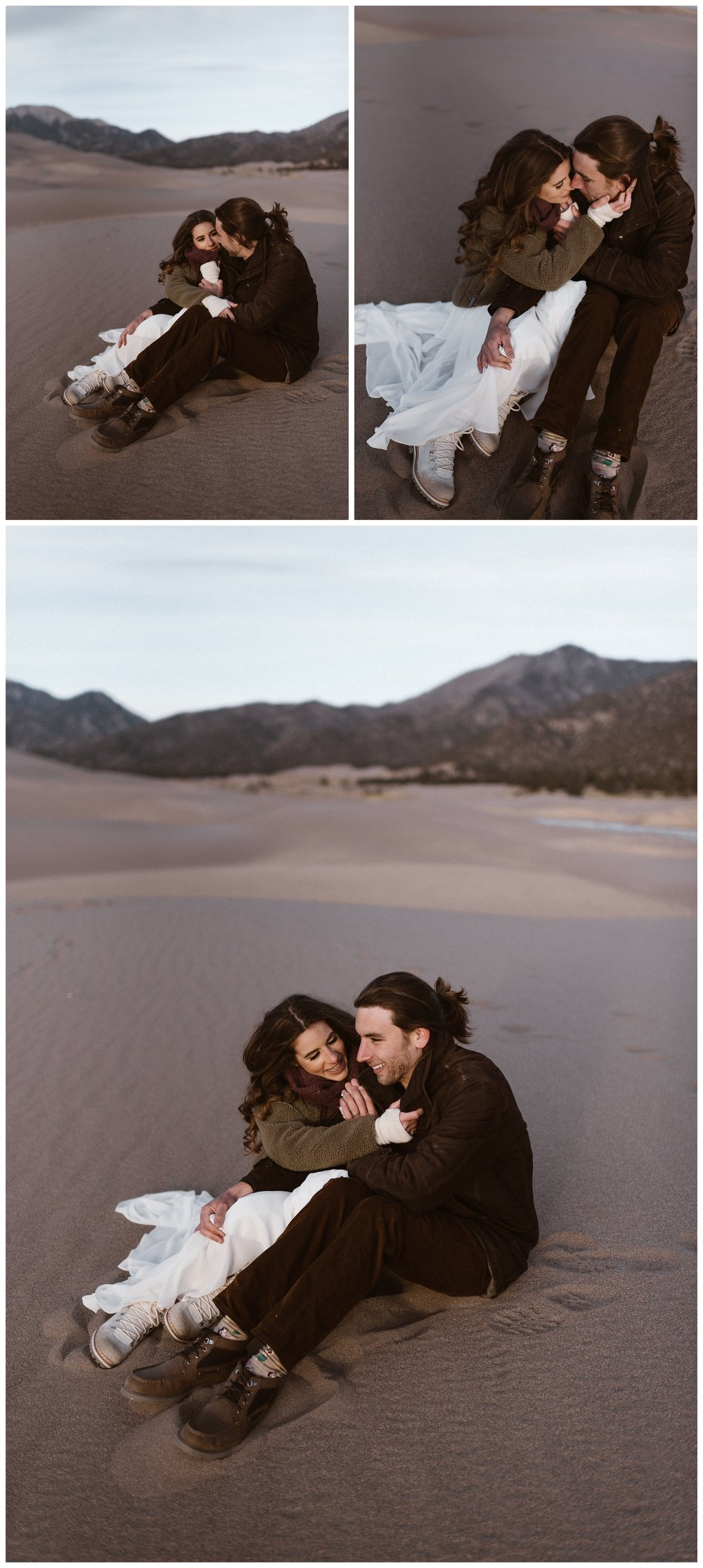 Olivia and Justin take some time to themselves after hiking the dunes of Great Sand Dunes National Park during their intimate elopement. Photo by Maddie Mae Photo, Adventures Instead.