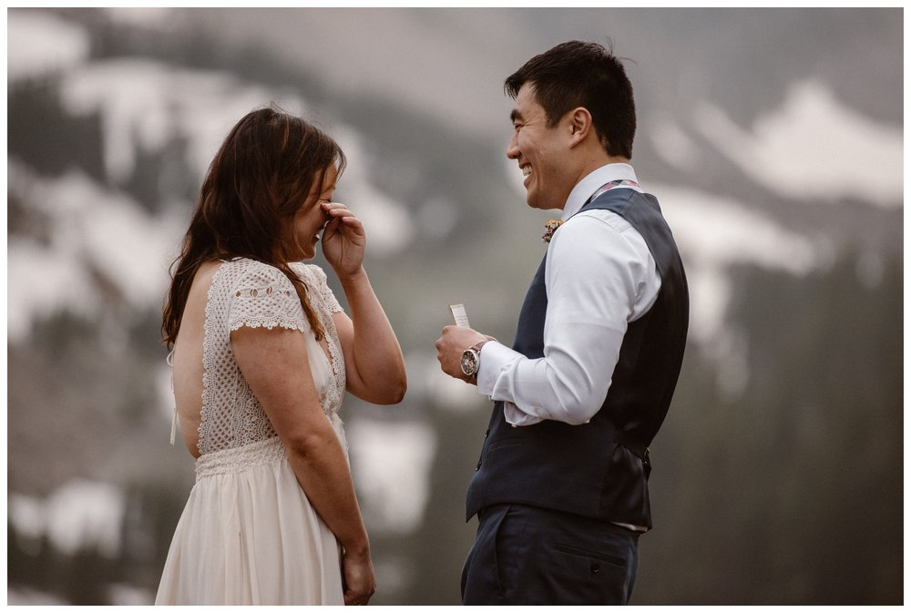 Tears and laughs were part of Leslie and Jinson's emotional self solemnizing ceremony at the top of Gem Lake. Photo by Maddie Mae Photo, Adventure Instead.