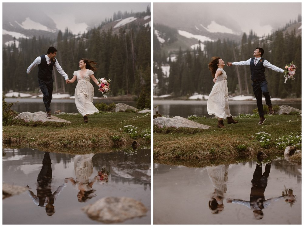 Leslie and Jinson celebrate their elopement on top of Gem Lake, outside Estes Park, Colorado. Photo by Maddie Mae Photo, Adventure Instead.