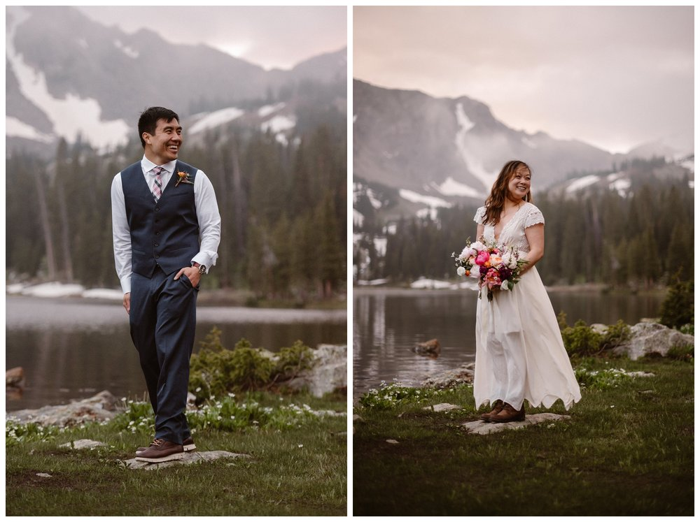 Jinson and Leslie hiked with all the details for their wedding day on their backs, including their attire, bouquet and boutonniere, for an adventurous elopement outside Estes Park, Colorado. Photo by Maddie Mae Photo, Adventure Instead.