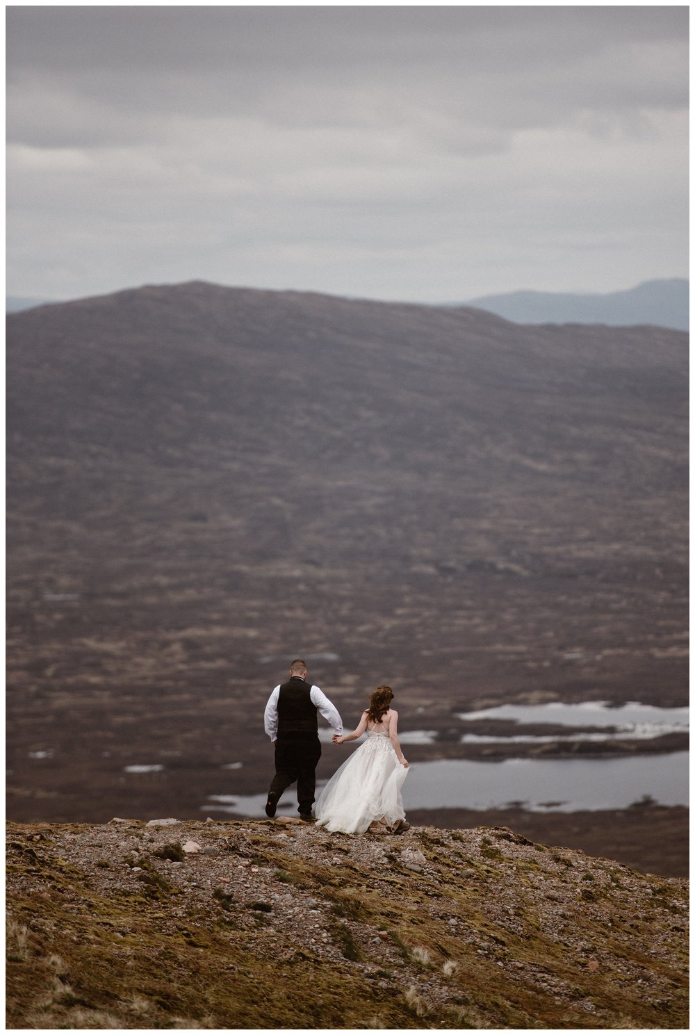 With lochs, rivers and waterfalls behind them, Elissa and Daniel hiked through Glencoe in the Scottish Highlands during their adventure destination elopement. Photo by Maddie Mae, Adventure Instead.