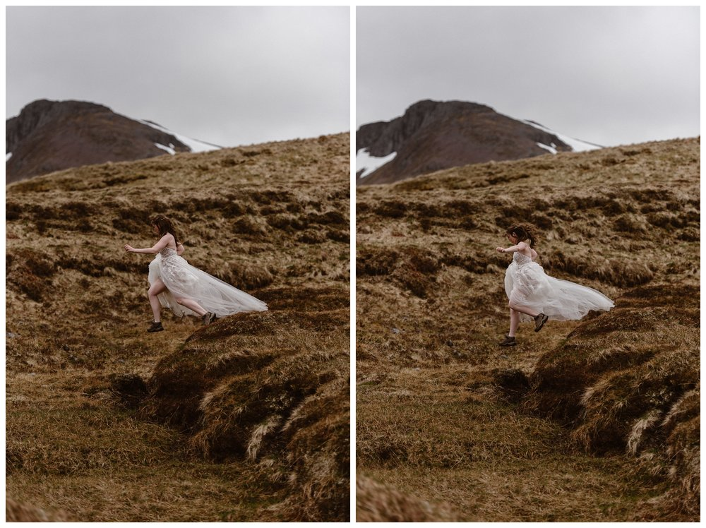 Elissa leaps off a mossy hill in the Scottish Highlands in her wedding dress before her destination elopement. Photo by Maddie Mae, Adventure Instead.