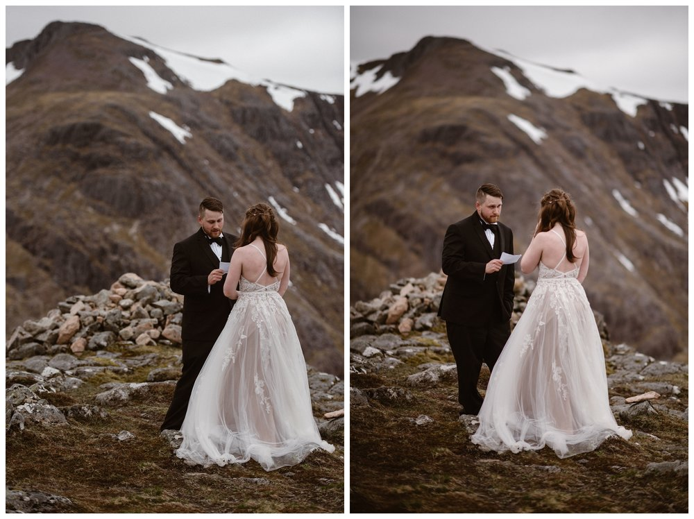 Daniel reads his handwritten vows to Elissa during their private elopement ceremony in the Scottish Highlands. Photo by Maddie Mae, Adventure Instead.