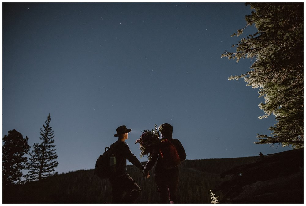 Karen and Matt started their adventure elopement day before sunrise so they could hike to the top of Lake Isabelle outside Nederland, Colorado. Photo by Adventure Instead, Maddie Mae.