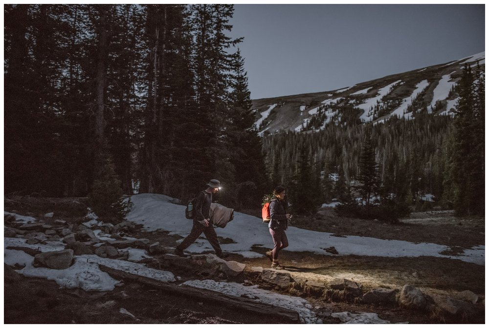Starting before dawn, Karen and Matt make their way up the trail for Lake Isabelle, a high alpine lake outside Nederland, Colorado. Photo by Adventure Instead, Maddie Mae.