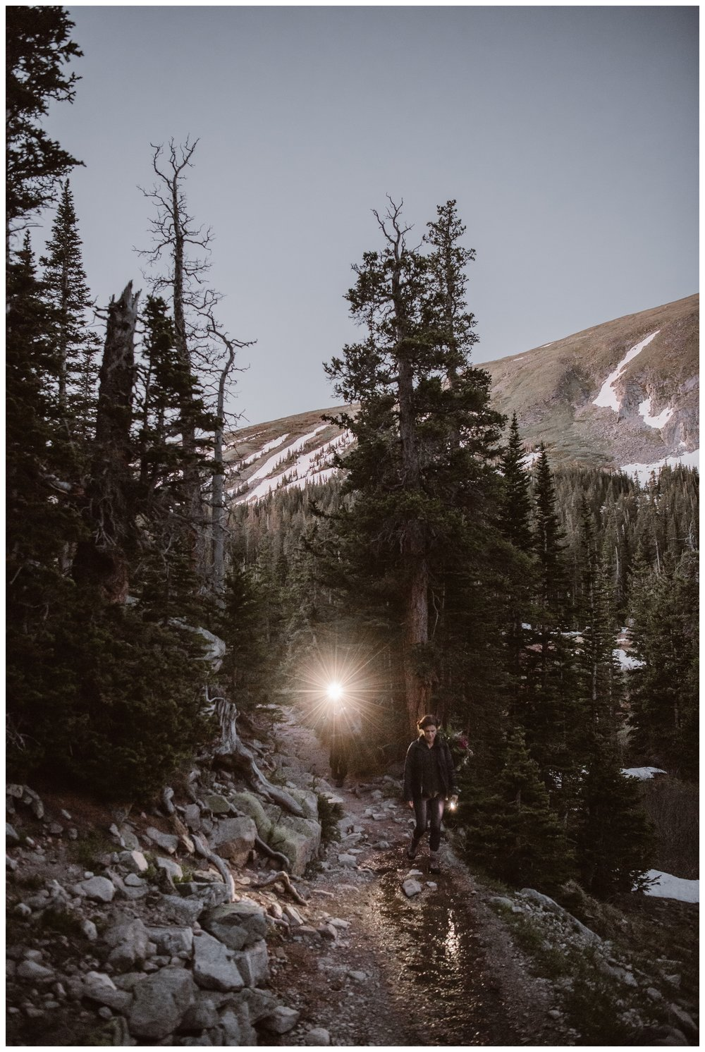 Headlamps provided much of the light as we hiked before dawn for Karen and Matt's adventure elopement wedding in Nederland, Colorado. Photo by Adventure Instead, Maddie Mae.
