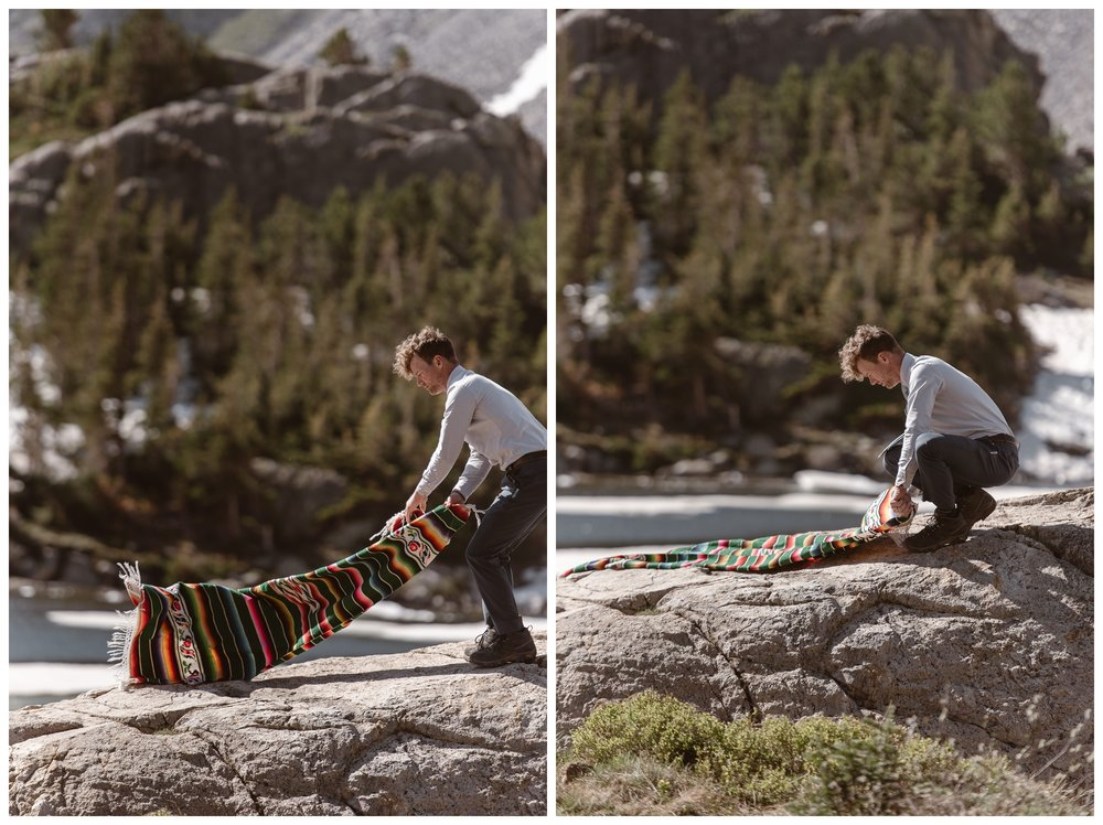 Karen and Matt wanted to elope at Rocky Mountain National Park but weren't able to have the high alpine lake hiking elopement ceremony of their dreams. Lake Isabelle outside Nederland, Colorado was a great back up location! Photo by Adventure Instead, Maddie Mae.