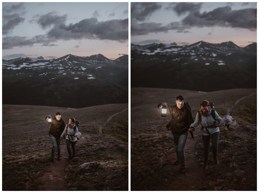 The sun begins to rise at the top of Independence Pass outside Aspen, Colorado. Marcela and Vasily hiked two miles for their intimate elopement ceremony. Photo by Maddie Mae, Adventure Instead.