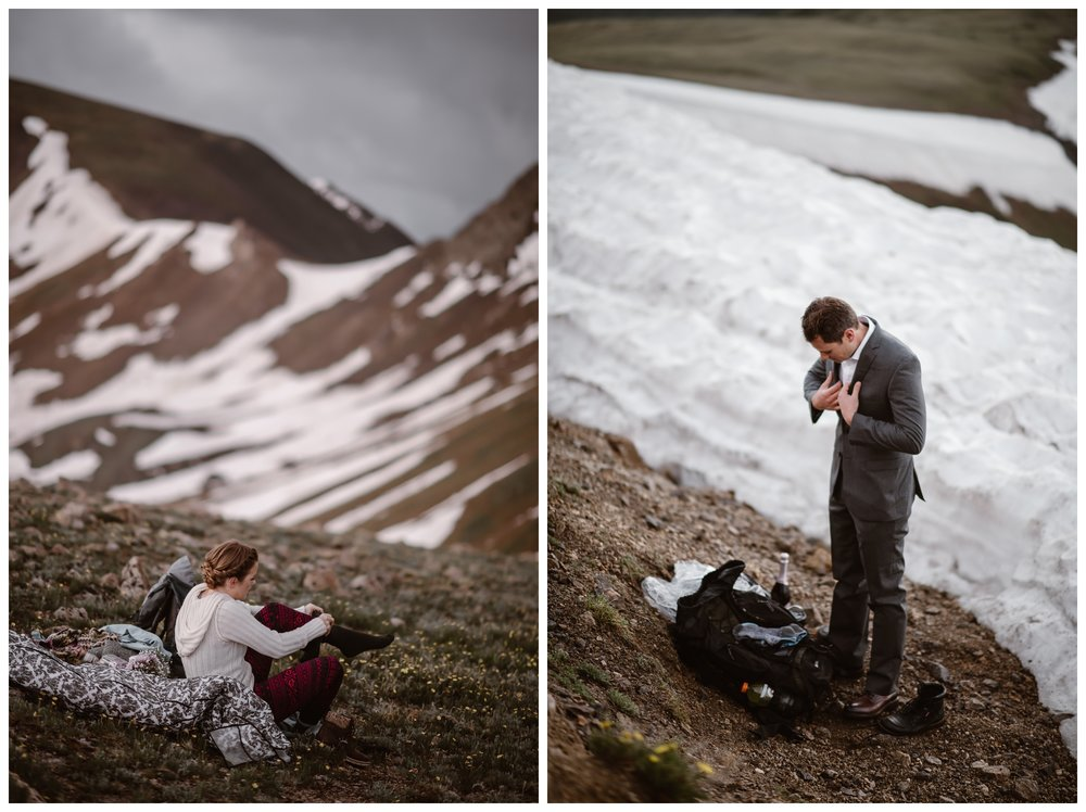 Marcela and Vasily chose to get ready separately for their intimate elopement, even though they were the only two on the mountain top, so they could do a first look. Photo by Maddie Mae, Adventure Instead.