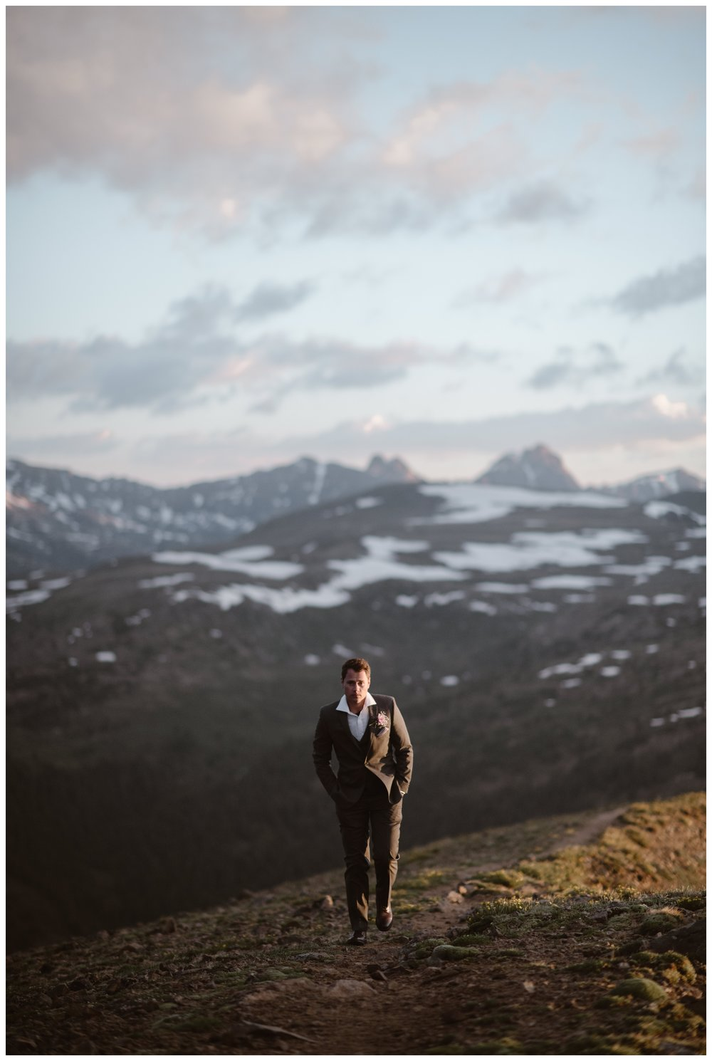 Vasily walks along the ridge above Independence Pass, outside Aspen, Colorado as he waits for his fiance so they can have an intimate first look at more than 12,000 feet elevation. Photo by Maddie Mae, Adventure Instead.