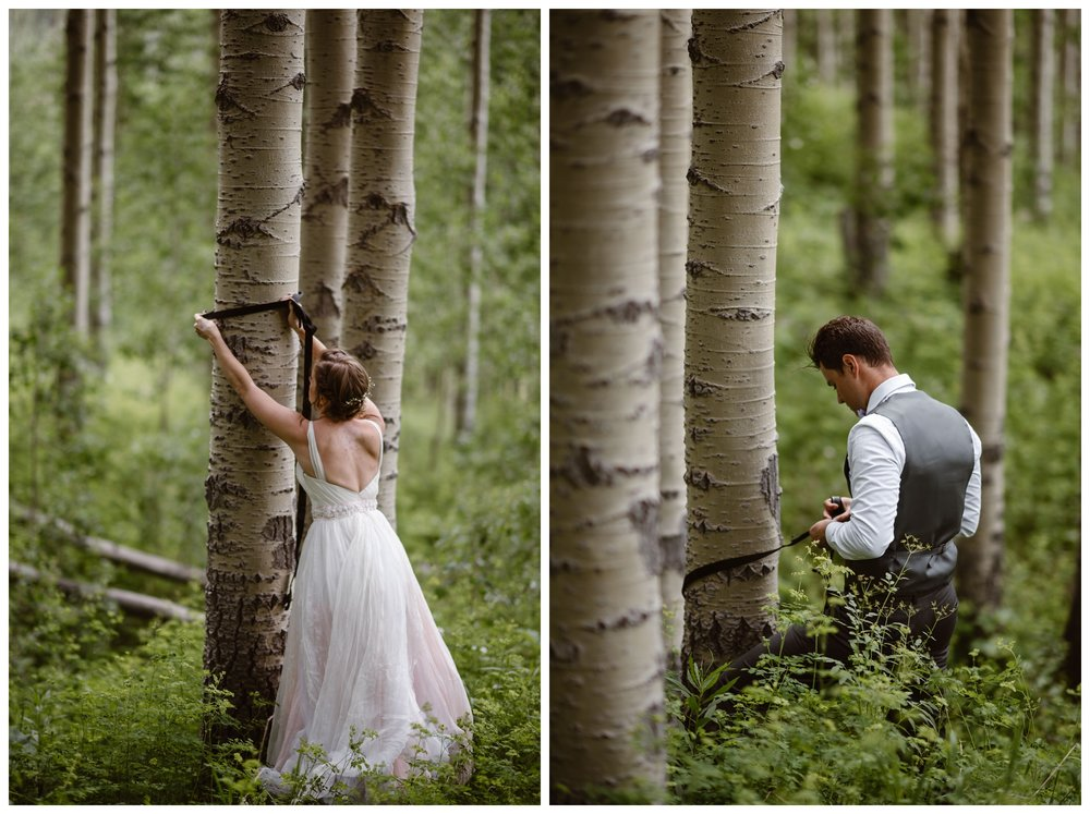 Marcela and Vasily hang a pack hammock from old growth aspen trees outside the Maroon Bells in Aspen, Colorado following their outdoor hiking elopement ceremony. Photo by Maddie Mae, Adventure Instead.