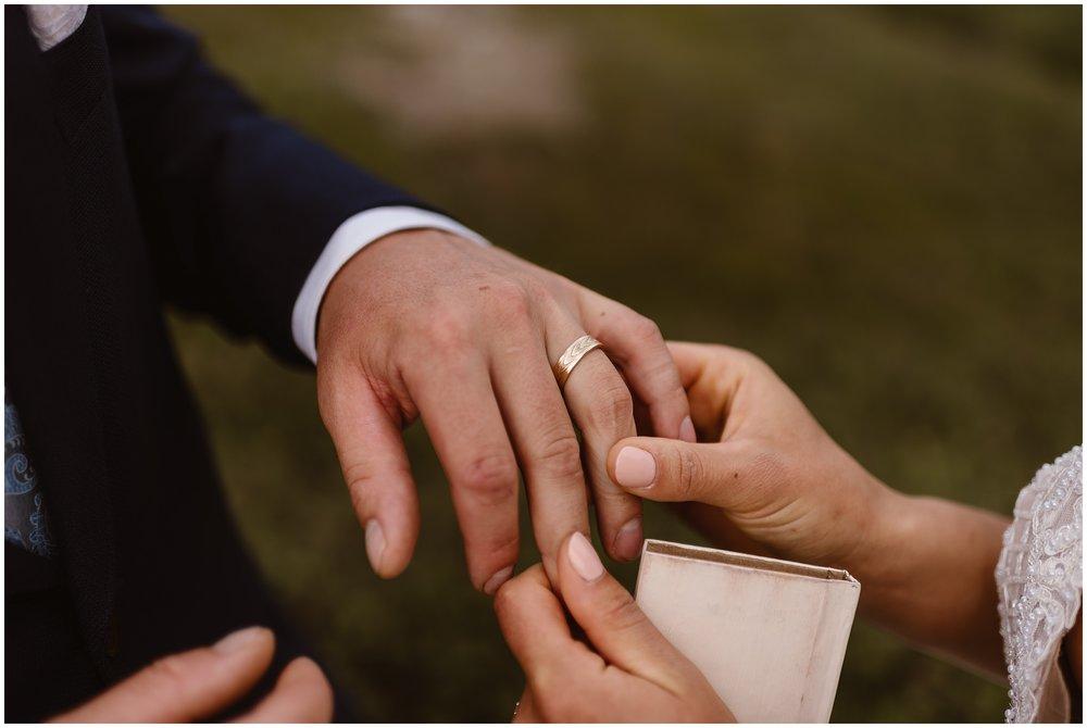 If you need help planning your elopement ceremony, remember that you can do many of the same ceremony pieces as a traditional wedding ceremony, like exchanging rings and vows, having a first kiss and celebrating at the end. This article will help you plan your ideal elopement ceremony. Photo by Adventure Instead, Maddie Mae.