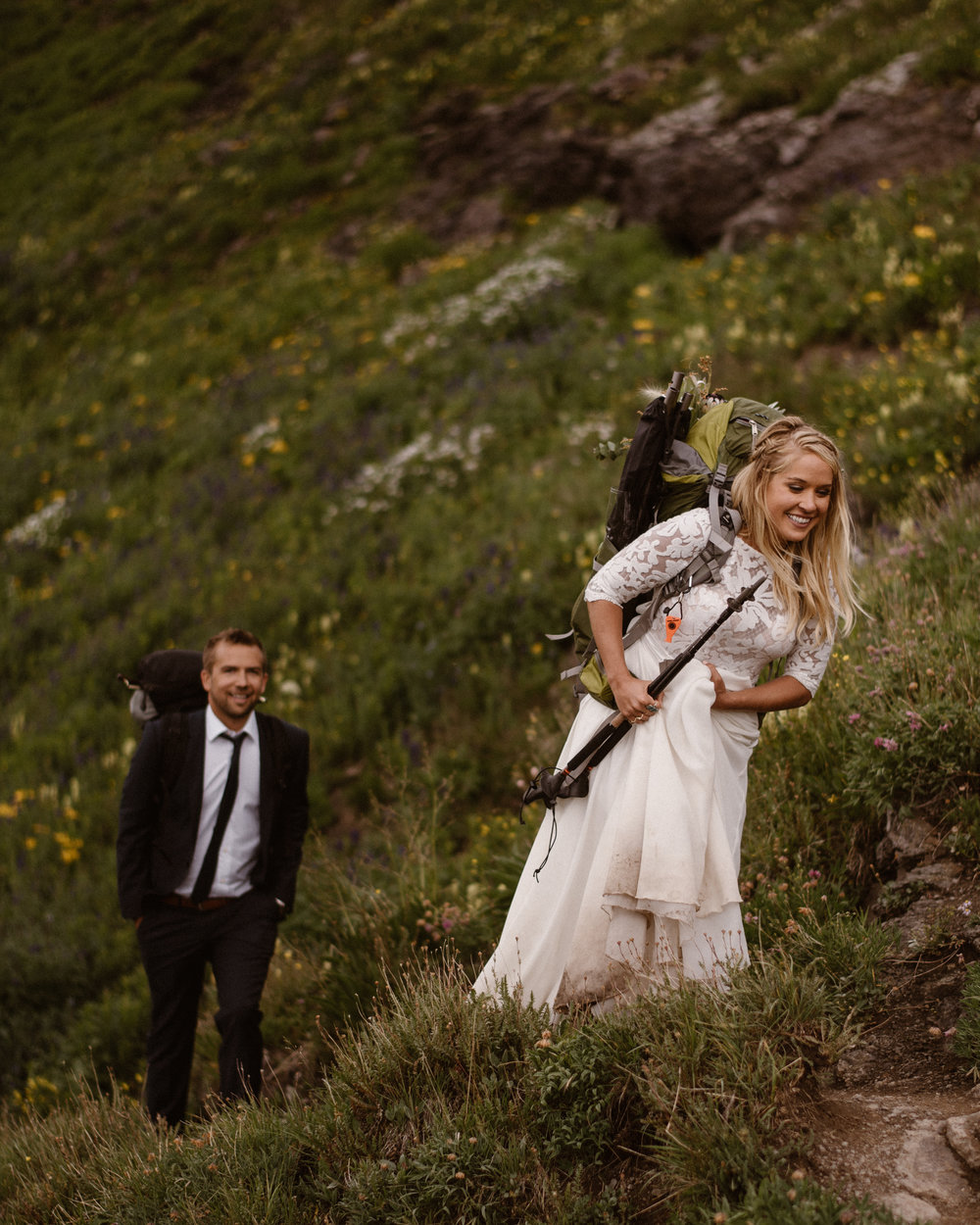 All-DayHiking Elopements - Want get up early, hit the trail before dark, and have an incredibly beautiful place to all yourself to say your vows at sunrise? Hiking elopements are one of the most incredible ways to elope and we'd be stoked to carry our 40lb gear miles up a 14,000 ft mountain, and guide you up an incredible trail to get married! Yeah we're serious!