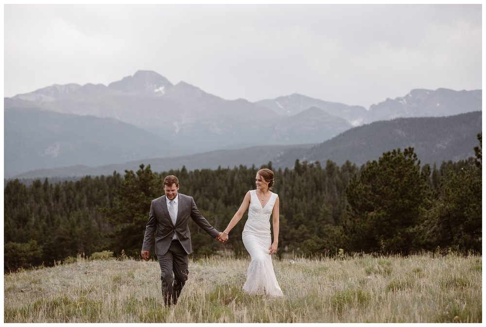 To elope in Rocky Mountain National Park outside Estes Park, Colorado, you must apply for a permit and choose from their list of designated sites, including 3M Curve, Bear Lake, and Sprague Lake. Photo by Maddie Mae, Adventure Instead Elopement Photographers.