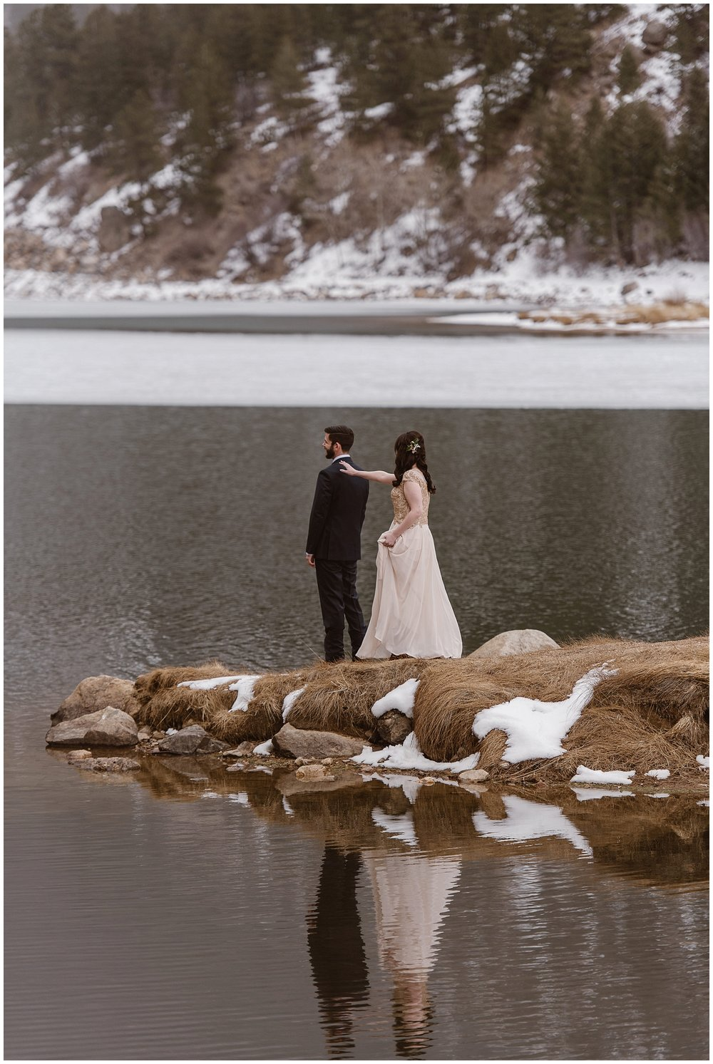 A first look during an elopement is still possible! Marlayna and Austin had a first look at Georgetown Lake, in Georgetown, in Colorado's Rocky Mountains. Photo by Adventure Instead, Maddie Mae Elopement Photographers.
