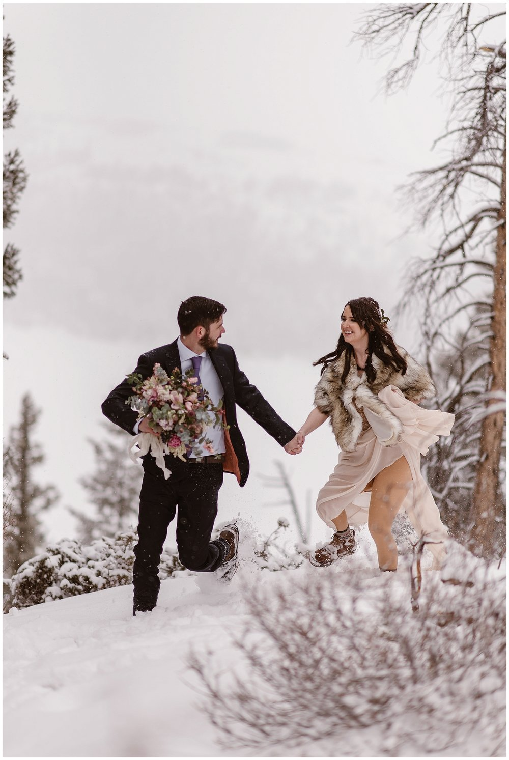Marlayna and Austin brave the snow for couple's portraits before their snowy winter elopement ceremony at Sapphire Point. Photo by Adventure Instead, Maddie Mae Elopement Photographers.