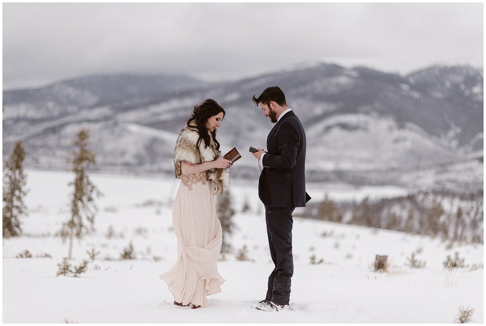 Marlayna and Austin weren't sure of the exact location they wanted to perform their self solemnizing elopement ceremony in but we helped them plan their perfect day at Sapphire Point in Dillon, Colorado. Photo by Adventure Instead, Maddie Mae Elopement Photographers.